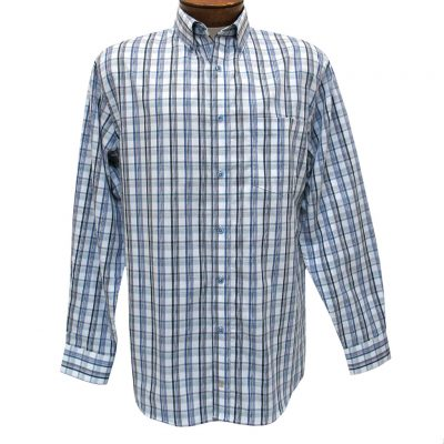 Men's F/X Fusion Summer Weight Long Sleeve Woven Overplaid Sport Shirt #D1204 Teal/White