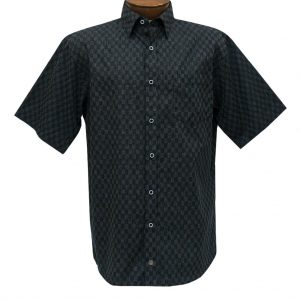 Men's F/X Fusion Short Sleeve Micro Check Woven Sport Shirt,  #D1233 Black/Silver
