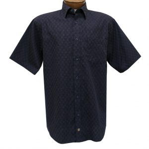 Men's F/X Fusion Short Sleeve Woven Sport Shirt, Navy/Tan Micro Check #D1236 (XL, ONLY!)