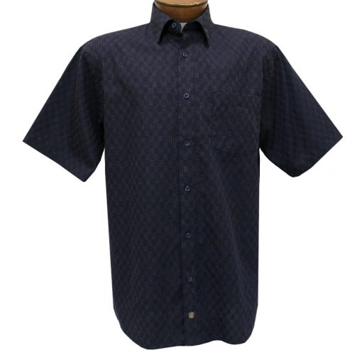 Men's F/X Fusion Short Sleeve Woven Sport Shirt, Navy/Tan Micro Check #D1236
