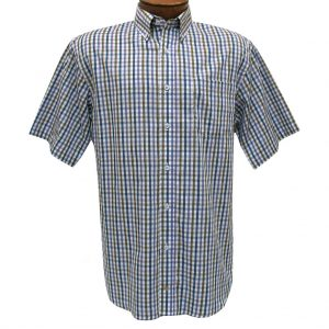 Men's F/X Fusion Short Sleeve Woven Mini Multi Check Sport Shirt,  #D1226 Purple/Tan/Blue (M & XL, ONLY!)