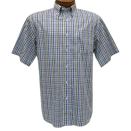 Men's F/X Fusion Short Sleeve Woven Mini Multi Check Sport Shirt, #D1226 Purple/Tan/Blue