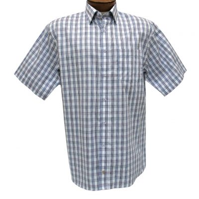 Men's F/X Fusion Short Sleeve Woven Multi Plaid Sport Shirt, #D1227 Purple/Navy
