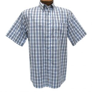 Men's F/X Fusion Short Sleeve Woven Overplaid Sport Shirt,  #D1224 Teal/White