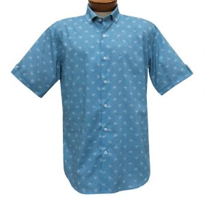 Trend By F/X Fusion, Bikes Modern Fit Short Sleeve Stretch Sport Shirt, #T451 Blue Oxford