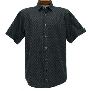 F/X Fusion Trend Modern Fit Short Sleeve Micro Check Woven Sport Shirt,  #T443 Black/Silver (L & XL, ONLY!)