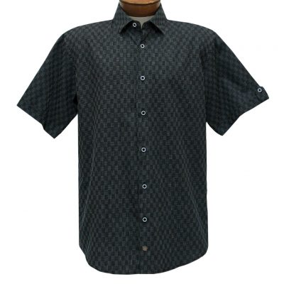 F/X Fusion Trend Modern Fit Short Sleeve Micro Check Woven Sport Shirt, #T443 Black/Silver