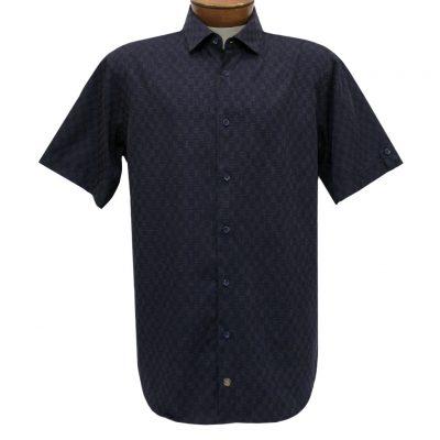 F/X Fusion Trend Modern Fit Short Sleeve Micro Check Woven Sport Shirt, #T446 Navy/Tan