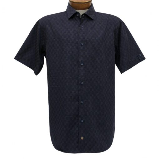F/X Fusion Trend Modern Fit Short Sleeve Micro Check Woven Sport Shirt, #T446 Navy/Tan