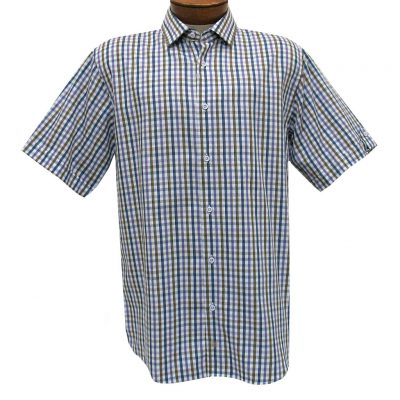 F/X Fusion Trend Modern Fit Short Sleeve Woven Sport Shirt, #T436 Purple/Tan/Blue