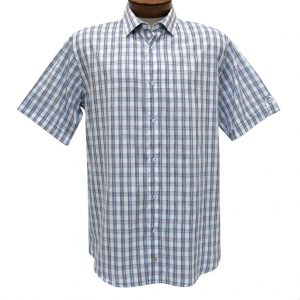 F/X Fusion Trend Modern Fit Short Sleeve Multi Plaid Woven Sport Shirt,  #T437 Purple/Navy (L & XL, ONLY!)