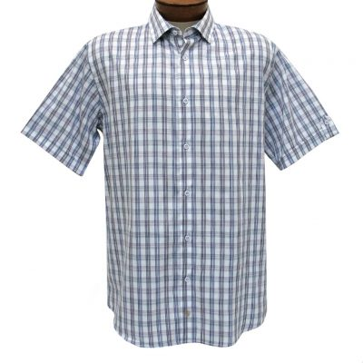 F/X Fusion Trend Modern Fit Short Sleeve Multi Plaid Woven Sport Shirt, #T437 Purple/Navy