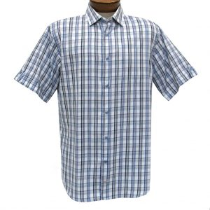 F/X Fusion Trend Modern Fit Short Sleeve Over Plaid Woven Sport Shirt,  #T434 Teal/White (L & XL, ONLY!)