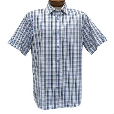F/X Fusion Trend Modern Fit Short Sleeve Overplaid Woven Sport Shirt, #T434 Teal/White