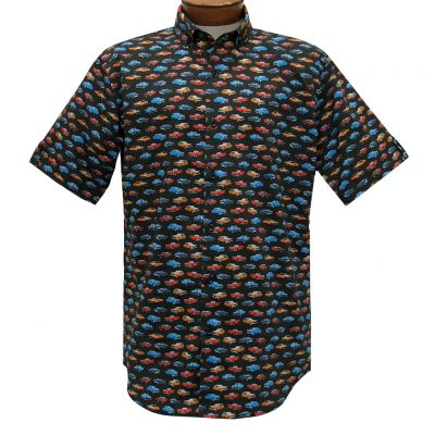 Trend By F/X Fusion, Vintage Cars Modern Fit Short Sleeve Stretch Sport Shirt, #T460 Black