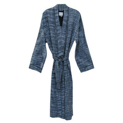 Mens Majestic International 100% Cotton Heathered Waffle Textured Woven Kimono Robe, Navy