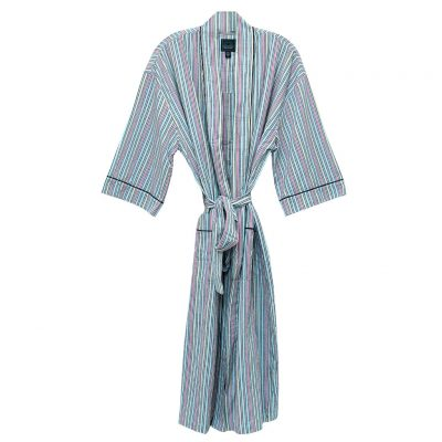 Mens Majestic International 100% Cotton Sun Soaked Seersucker Kimono Robe, Aruba