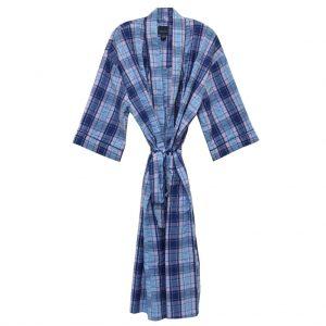 Mens Majestic International 100% Cotton Sunbuster Seersucker Kimono Robe, Rosy Chambray