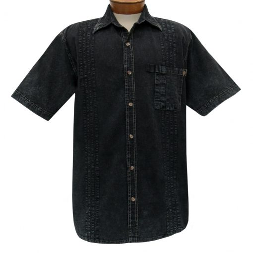 Men's Farthest Point By Scully Short Sleeve Traveler Casual Button Front Shirt #4800 Black Distressed