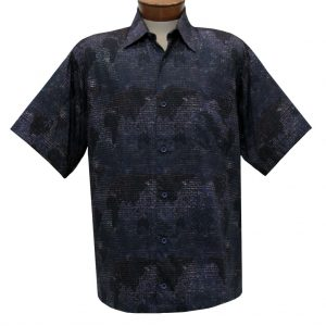 Men's Justin Harvey Short Sleeve Classic Fit Super Soft Cotton Sport Shirt, Global Abstract #ZW102 Black Multi