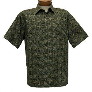 Men's Justin Harvey Short Sleeve Classic Fit Super Soft Cotton Sport Shirt, Gold Medallion #ZW116 Black/Gold