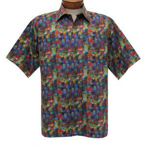 Men's Justin Harvey Short Sleeve Classic Fit Super Soft Cotton Sport Shirt, Color Map #ZW122 Multi (L, ONLY!)
