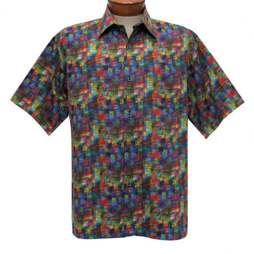 Men's Justin Harvey Short Sleeve Classic Fit Super Soft Cotton Sport Shirt, Color Map #ZW122 Multi