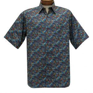 Men's Justin Harvey Short Sleeve Classic Fit Super Soft Cotton Sport Shirt, Deep Sea #ZW137 Multi