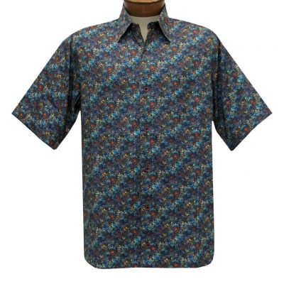 Men's Justin Harvey Short Sleeve Classic Fit Super Soft Cotton Sport Shirt, Deep Sea #ZW137 Multi