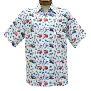 Men's Justin Harvey Short Sleeve Classic Fit Super Soft Cotton Sport Shirt, Beach Life #ZW140 White Multi