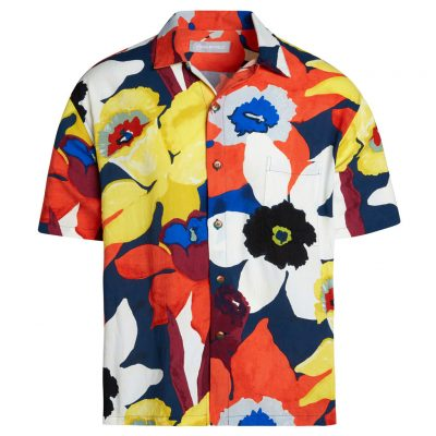 Men's Jams World Short Sleeve Original Crushed Rayon Retro Aloha Shirt, Bamboo Orchid