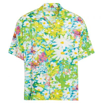 Men's Jams World Short Sleeve Original Crushed Rayon Retro Aloha Shirt, Daisy Patch