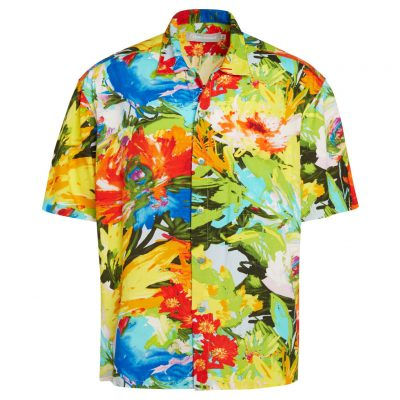 Men's Jams World Short Sleeve Original Crushed Rayon Retro Aloha Shirt, Floral Breeze