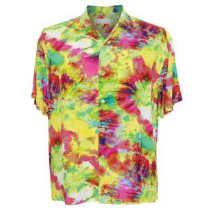 Men's Jams World Short Sleeve Original Crushed Rayon Retro Aloha Shirt, Green Flash