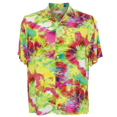 Men's Jams World Short Sleeve Original Crushed Rayon Retro Aloha Shirt, Green Flash