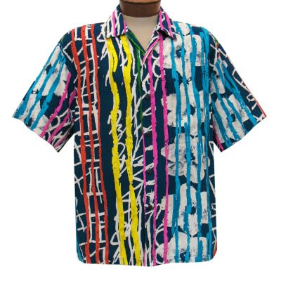 Men's Jams World Short Sleeve Original Crushed Rayon Retro Aloha Shirt, Heartstrings