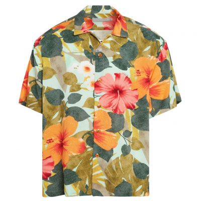 Men's Jams World Short Sleeve Original Crushed Rayon Retro Aloha Shirt, Hibiscus Palm