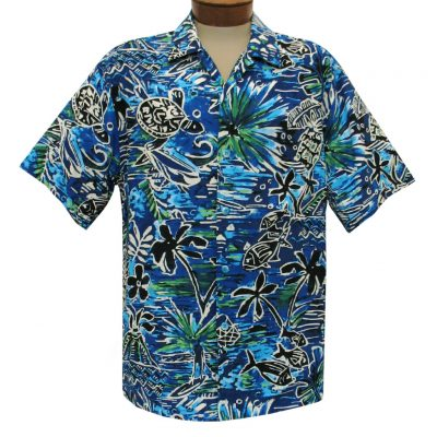 Men's Jams World Short Sleeve Original Crushed Rayon Retro Aloha Shirt, Honu Island