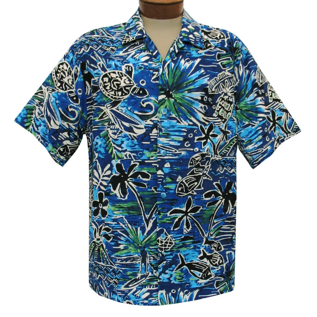 Men's Jams World Short Sleeve Original Crushed Rayon Retro Aloha Shirt, Honu Island