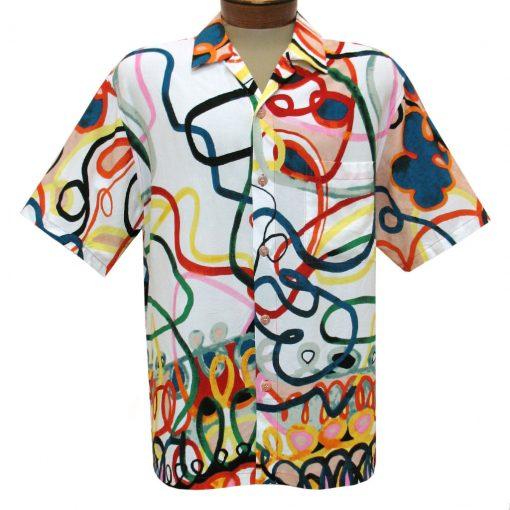 Men's Jams World Short Sleeve Original Crushed Rayon Retro Aloha Shirt, Loop De Loop