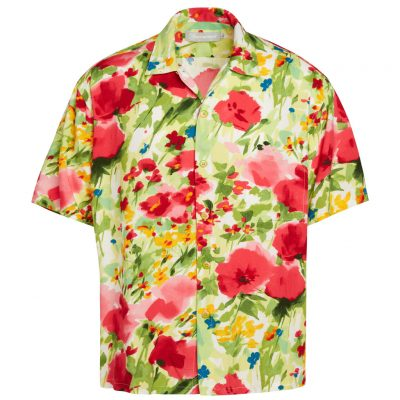 Men's Jams World Short Sleeve Original Crushed Rayon Retro Aloha Shirt, Morning Glory