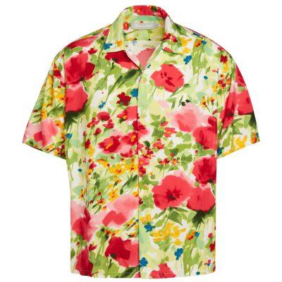 Men's Jams World Short Sleeve Original Crushed Rayon Retro Aloha Shirt, Morning Glory