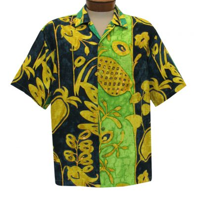 Men's Jams World Short Sleeve Original Crushed Rayon Retro Aloha Shirt, Pineapple Patch