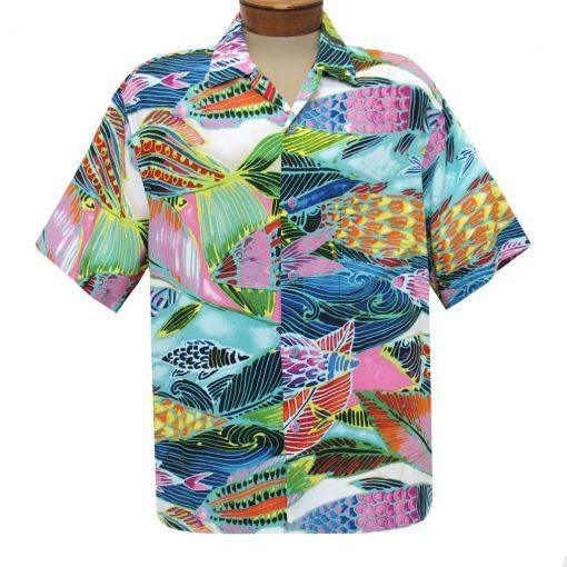 Men's Jams World Short Sleeve Original Crushed Rayon Retro Aloha Shirt, Rainbow Bay