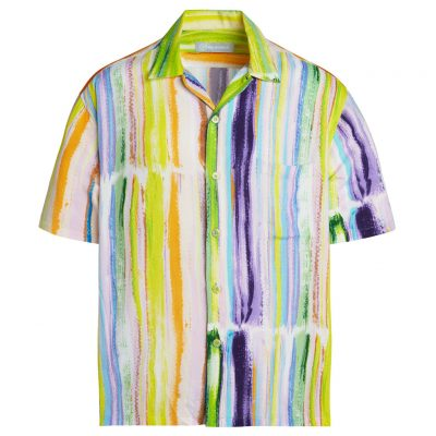 Men's Jams World Short Sleeve Original Crushed Rayon Retro Aloha Shirt, Skyline