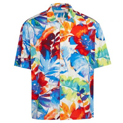 Men's Jams World Short Sleeve Original Crushed Rayon Retro Aloha Shirt, Spring Sky