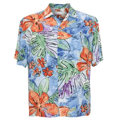 Men's Jams World Short Sleeve Original Crushed Rayon Retro Aloha Shirt, Surf Flower