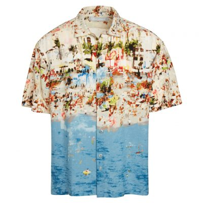 Men's Jams World Short Sleeve Original Crushed Rayon Retro Aloha Shirt, Tropea Beach