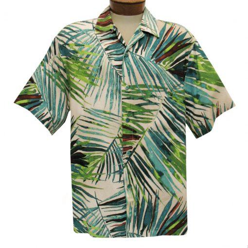 Men's Jams World Short Sleeve Original Crushed Rayon Retro Aloha Shirt, Waimea