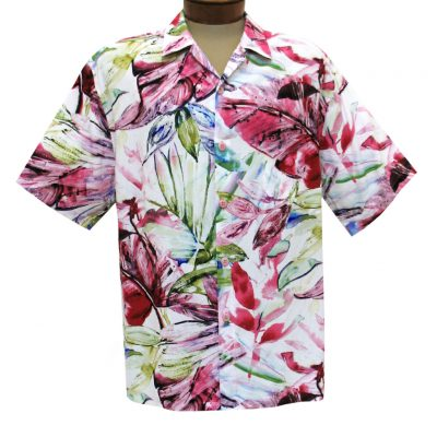 Men's Jams World Short Sleeve Original Crushed Rayon Retro Aloha Shirt, Wind Palm